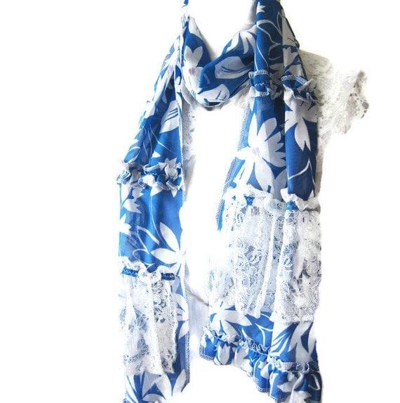 Sale Blue Bridal Ruffle Scarf..Azure Chiffon Scarf with White Lace, White Flowers..Shabby chic  Weddings