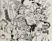 Original, Surreal Buddha inspired Pen and Ink Drawing
