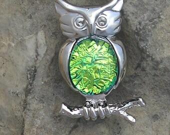 Owl Brooch Dichroic Fused Glass Owl Pin Brooch