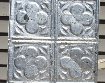 "Genuine Antique Ceiling Tile - 12""x12"" -- Distressed Silver Colored Paint --  Abstract Colver Design"
