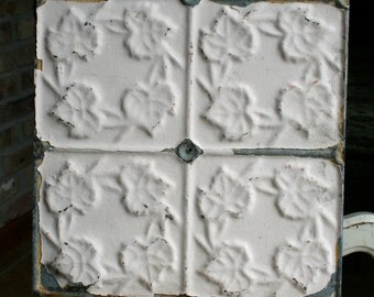 """12"""" Antique Tin Ceiling Tile -- Cream Colored Paint -- Small Repeating Leaf Design"""
