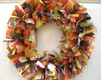 Fall Wreath, Ribbon Door Wreath, Rag Wreath, Wreath for Fall, Fall Decor, Fabric Wreath, Autumn Wreath, Front Door Wreaths, Door Decoration