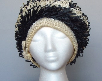 vintage 60s mod raffia hat navy blue cream