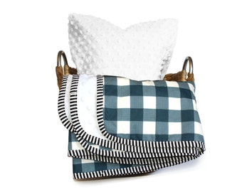 BUFFALO CHECK baby blanket- Baby boy minky blanket and pillowcase set -blue plaid baby blank