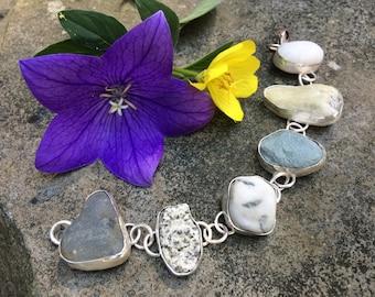 Bracelet, rock bracelet, sterling silver