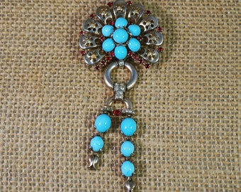 1940's Trifari Alfred Philippe Sterling Silver Turquoise Glass Cabochon and Ruby Rhinestone Brooch