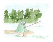 Owl Fishing, Fine Art Archival Print from my Original Owl Illustration Painting, Fathers Day Gift