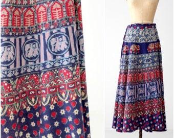 70s maxi wrap skirt, vintage India cotton block print boho skirt