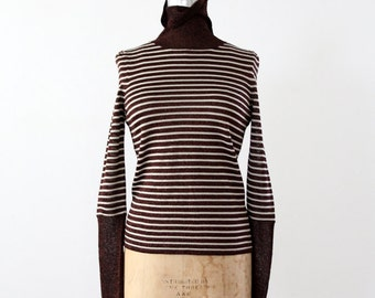 FREE SHIP  vintage 80s turtleneck, bronze striped knit top, sparkle blouse