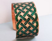 Celtic Weave - Etched hand colored copper cuff bracelet
