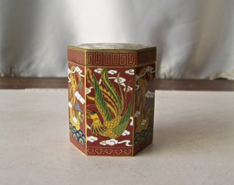 Vintage Cloisonne Enamel Trinket Box Displaying a Feng huang Opposite a Dragon Enamel Dresser Box Vanity Decor Jewelry Storage ca. 1950