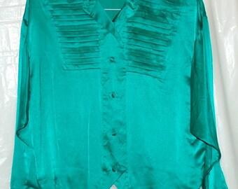 Vintage Eighties Emerald Green Silk Blouse