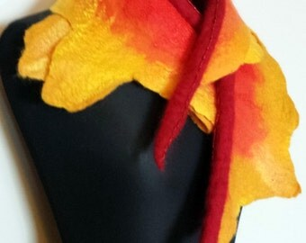 Golden yellow with hints of orange and red wet felted merino wool scarf 'Wildfire'