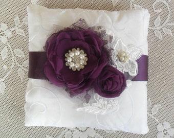Bridal Pillow, Ring Bearer Pillow, Plum Purple Ring Pillow, Wedding Ring Pillow, Lace Ring Pillow, YOUR CHOICE COLOR, Floral Wedding Pillow