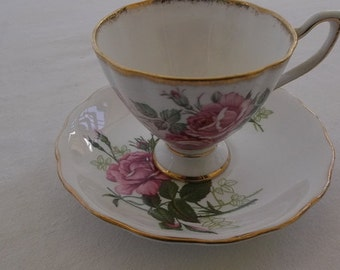 Vintage Tea Cup and Saucer, Royal Vale Bone China, Pink Roses