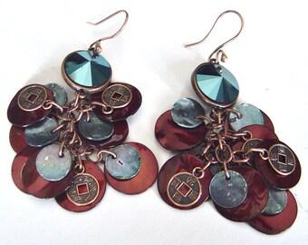 Blue Crystal Earrings, Cluster Earrings, Swarovski Elements, Sea Shell Earrings, Chinese Coin, Copper Earrings, Bohemian Festival Jewelry