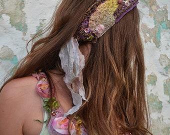 Gypsy beaded headband,romantic scarf,belt,sash,upcycled,victorian,shabby chic,mori girl,fairy belt,or headband Summer Garden