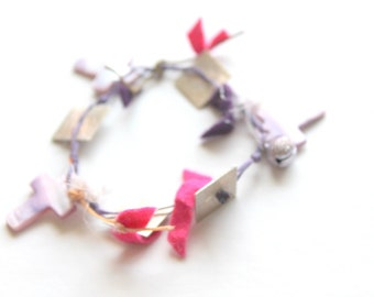 purple shell cross bracelet-  cross jewelry