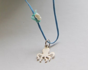 blue silver octopus necklace