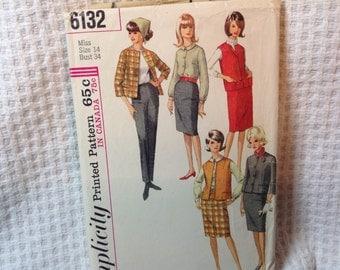 Vintage Simplicity pattern 6132, 60's jacket,skirt,slacks