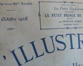 french antique magazine, paper ephemera ,1928, vintage advertisements, fashion,  twenties,black and white, vintage poster, french art,
