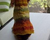 "Dog Coat Hand Knit NORO Cable Medium 15"" inches long Merino Wool"