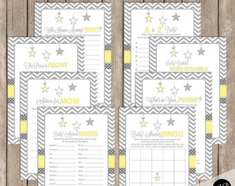 Baby Shower Game Pack - Yellow and Gray, Twinkle Little Star, Baby Shower Activity Set, Bingo, A to Z Baby, Price is Right  Star-Y
