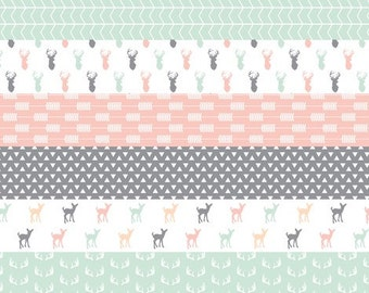 girl woodland wholecloth blanket in blush mint and gray, made to order