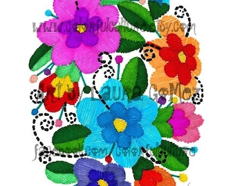 """Cultura Bordada / Embroidered Culture""""  Art Print by Laura Gomez - Mexican Art-  Mexican Embroidery"""