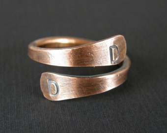 Initial Ring Copper, Personalized Copper Ring, Hand Stamped Ring, Made to Order Ring