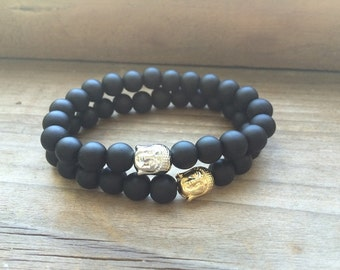Shungite bracelet, Buddha bracelet, Stretch Beaded Bracelet, Mala Yoga Bracelet