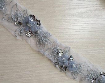 3D Silver Tulle Beaded Sequined Lace Trim Fabulours Gold Patches 1 yard