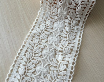 Cream White Cotton Lace Floral Embroidered Lace Trims 3.54 Inches Wide 2 yards