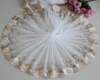 2 Yards Lace Trim Rose Flowers Embroidered Tulle Lace Trim 11.81 Inches Wide High Quality