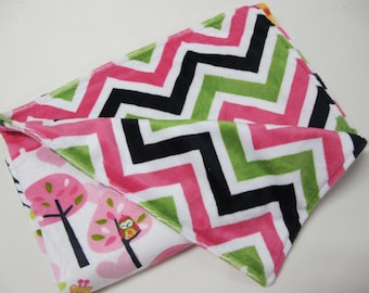 Chevron baby girl blanket with animals