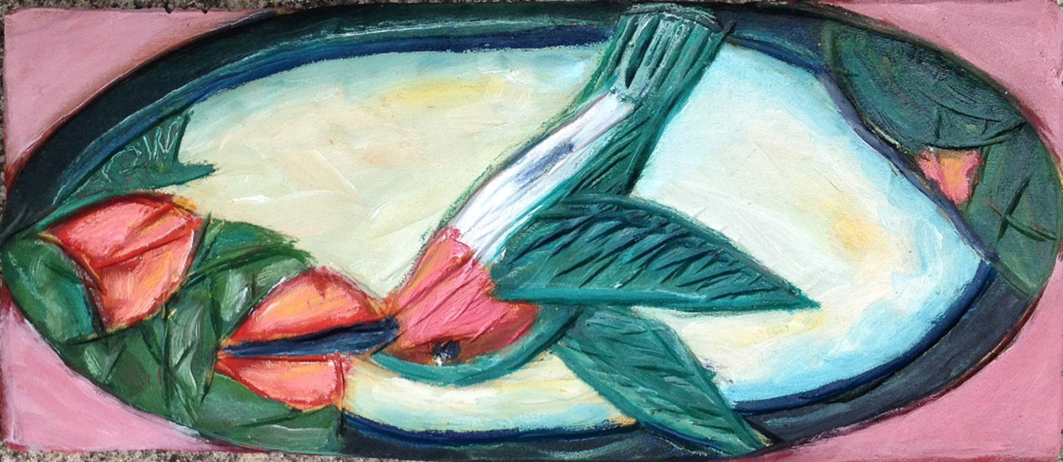 Painted artistic wood relief carving hummingbird solo a