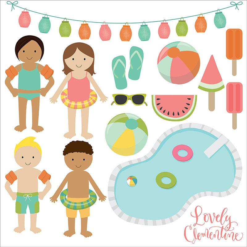 Pool party clip art summer clipart pool vector royalty