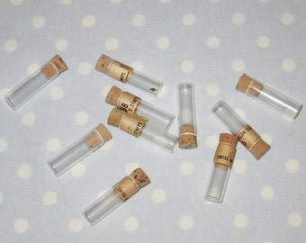 "TEN 1"" Glass Vials with Cork Used to Store Watch Parts Storage Jewelry Jar Bottle Pendants Steampunk Vintage"