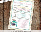 library card baby shower invitation gender neutral bring a book stock the library gender reveal couples (item 1325) shabby chic invitations