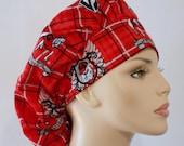 Georgia Bulldogs Plaid Bouffant Medical Scrub Hat Team Spirt