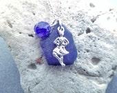 Scottish Highland Dance Necklace, Dancer Charm, Blue Sea Glass Jewelry from Scotland, Cobalt Beach Glass