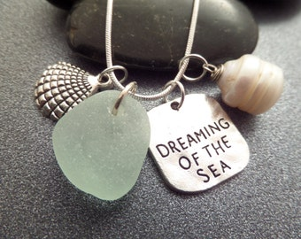 Dreaming of the Sea Charm Necklace, Scottish Sea Glass Jewelry, Seafoam Sea Glass Jewelry, Beach Glass Necklace from Scotland with Pearl