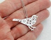 Silver Filigree Bird Necklace, matte metal pendant simple everyday jewelry minimal birthday anniversary gift