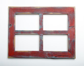 """2"""" 4 hole 8x10 Barn Window Collage Picture Frame - Poppy & Ocean - Distressed Frame-Collage Frame-Picture Frames"""