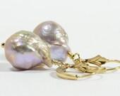 Pink Pearl Earrings Kasumi Like Pearl Earrings, Baroque Pearl Earrings, Genuine Pearl Earrings, 14K Gold Earrings Birthstone Jewelry
