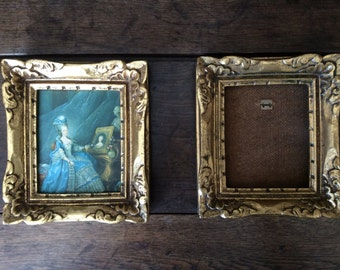 Vintage French heavy gold wooden screw on picture frames one has print on fabric in it circa 1960's / English Shop