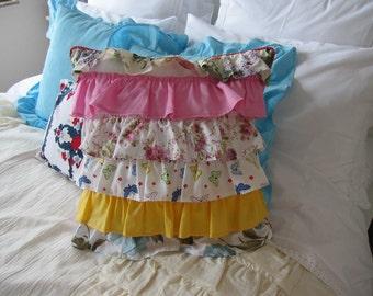 Tier ruffle bedding pillow romanticl ruffle pillow ,shabby chic decorative pillow, long lumbar pillow, couch pillow, bohemian bedroom decor