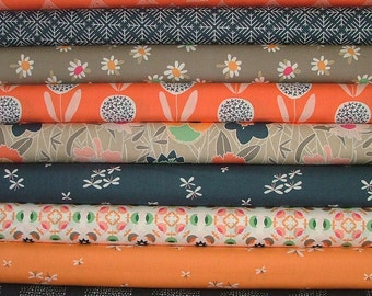 Curiosities Navy and Coral Fat Quarter Bundle of 9 by Jeni Baker for Art Gallery Fabrics
