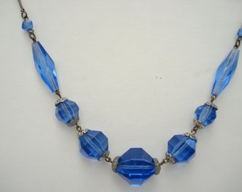 Art Deco Necklace  Blue Glass Beads 1920's 1930's
