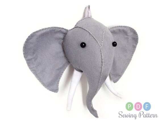 Elephant Head Sewing Pattern Plush Felt Faux By Aicreatures
